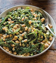 Lemony White Beans with Broccoli Rabe | This easy, nutrient-rich side comes together quickly thanks to canned beans, a great pantry staple for weeknight dinners. Serve this dish as a flavorful topping on slices of toasted bread.