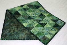 Great for fall or any season! Table Runner Half Square Triangles Green Batiks by MiniMade