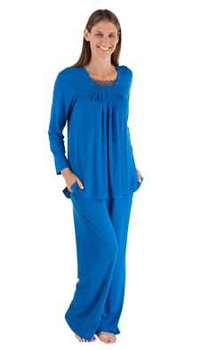 4d20e08913 Women s Bamboo Viscose Pajama Set (Tranquille) Long Sleeve Pajamas by  Texere - Skydiver - C511LNE6LOX