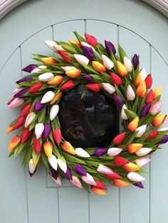 Big beautiful Spring Easter Tulip Wreath Tulip Wreath, Floral Wreath, Wreath Making, Front Door Decor, How To Make Wreaths, Big And Beautiful, Absolutely Stunning, Silk Flowers, Seasonal Decor