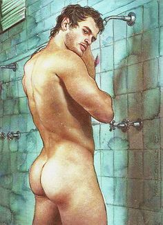 ORIGINAL-Artwork-Male-Nude-Drawing-Paint-Gay-Interest-MCicconneT-REFRESHING-UP