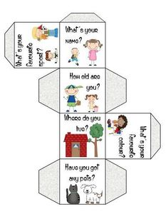 Ice-breaker activity to have your students speak and have fun; 15 different and differentiated dice to launch basic conversation in your classroom and develop interation an comprehension skills. Learning English For Kids, English Worksheets For Kids, English Resources, English Activities, English Language Learning, English Lessons, Teaching English, Kids Learning, English Time