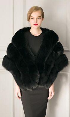 Freeze Frame Black Faux Fur Shawl Wrap