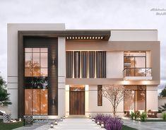 Twin villa in Iraq on Behance Modern Exterior House Designs, Best Modern House Design, Modern House Facades, Modern Villa Design, Modern Architecture House, Exterior Design, Small Modern Houses, Minimalist House Design, Facade Design