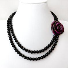 Purple Desire Asymmetrical Flower Necklace  Sterling by GetNoticed, $36.00- very pretty