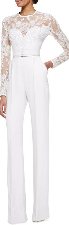 Elie Saab Long-Sleeve Lace-Embellished Jumpsuit, Jasmine White