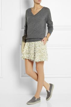 Equipment | Asher cashmere sweater | 3.1 Phillip Lim|Textured-tweed mini skirt|Common Projects | Suede sneakers | Pierre Hardy | Embossed metallic leather clutch