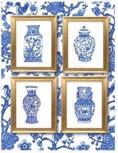 69608ed485af Watercolor Blue chinoiserie   Blue Porcelain  Watercolor painting  Blue  Wall art  Blue watercolor art  gifts for home  home decor