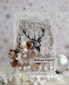 Новогодняя открытка с оленем С новым годом Скрапбукинг