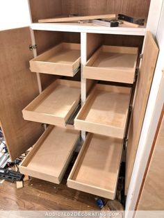 How I Built My Lower Base Cabinets And Drawers In The Pantry How I Built My Lower Base Cabinets And Drawers In The Pantry – Addicted 2 Decorating® - Kitchen Pantry Cabinets Designs Diy Kitchen Cupboards, Kitchen Drawer Organization, Diy Cabinets, Painting Kitchen Cabinets, Kitchen And Bath, Kitchen Storage, Kitchen Pull Out Drawers, Shaker Cabinets, Kitchen Stools