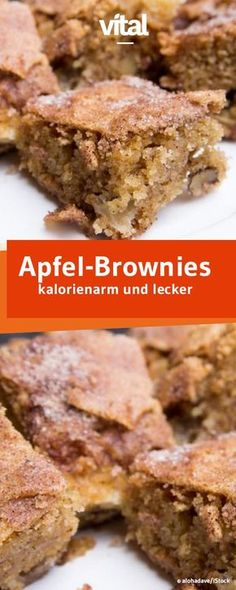 Super saftig und leicht sind die Apfel-Brownies mit gerade einmal 114 kcal pro S… Super juicy and light are apple brownies with only 114 kcal each. Healthy Cake Recipes, Healthy Baking, Healthy Desserts, Smoothie Recipes, Sweet Recipes, Baking Recipes, Healthy Cookies, Brunch Recipes, Eating Healthy
