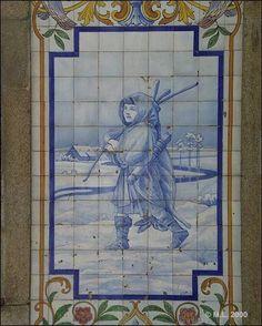 Azulejo do edifício das Quatro Estações - Este Azulejo representa a estação do «Inverno» Encontra-se na R. Manuel Firmino nº 47, 49, Aveiro