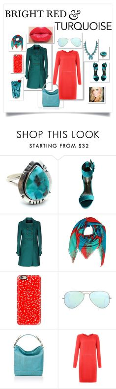 """BRIGHT RED & TURQUOISE"" by erinparkerofficial ❤ liked on Polyvore featuring Liliana, Marc by Marc Jacobs, MEDLEY CREATIONS, Casetify, Ray-Ban and Damsel in a Dress"
