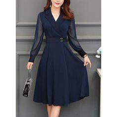 Fold-Over Collar Plain Skater Dress - Herren- und Damenmode - Kleidung Dresses For Teens, Modest Dresses, Trendy Dresses, Fall Dresses, Simple Dresses, Cute Dresses, Vintage Dresses, Casual Dresses, Dresses For Work