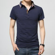 ca10b1f8f6d 2016 new casual summer cotton short-sleeved T-shirt lapel solid color men s  Polo shirt Korean version of the trend