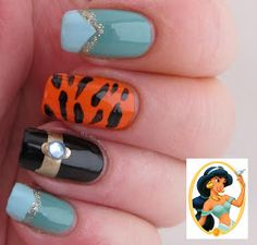 It's all about the polish: Disney Princess Jasmine Nails she isn't my favorite, but I love these nails.