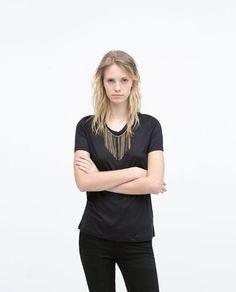 ZARA - WOMAN - T-SHIRT WITH BEADED NECKLINE