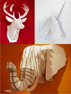 Cardboard Animal Heads:   Stag, Unicorn, Elephant