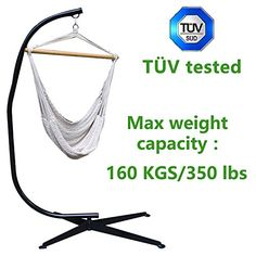 TV tested Zupapa 40inch Wide Seat 350 Lbs Weight Capacity Heavy Duty Metal Steel C Hammock Stand Frame with 100 Cotton Hammock Chair Porch Swing brand new Mothers Day gift Price off promotions * Read more reviews of the product by visiting the link on the image.
