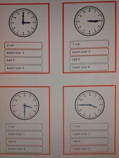 Kwartet klokkijken hele uren, halve uren en kwartieren. Interesse, stuur een berichtje via mijn yurlspagina. Creative Writing Ideas, Creative Teaching, Learn Dutch, Dutch Language, Clock For Kids, Speech And Language, Fun Learning, School, Maria Montessori