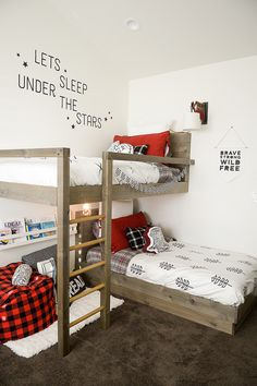 """There's something claustrophobic about traditional bunk beds, but we can't argue with """"going up"""" as a space-creating technique. A set that stacks perpendicularly gives both kids breathing room, and creates a more open layout. See more at The Project Girl »  - GoodHousekeeping.com"""
