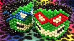 TMNT Kandi Cuff by CrazedCreationz on Etsy, $10.00 Kandi Mask, Kandi Cuff, Kandi Bracelets, Beaded Bracelets, Kandi Patterns, Beading Patterns, Pony Bead Projects, Chunky Beads, Adult Crafts