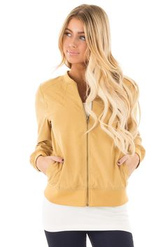 Lime Lush Boutique - Mustard Woven Bomber Jacket with Front Pockets , $19.95 (https://www.limelush.com/mustard-woven-bomber-jacket-with-front-pockets/)