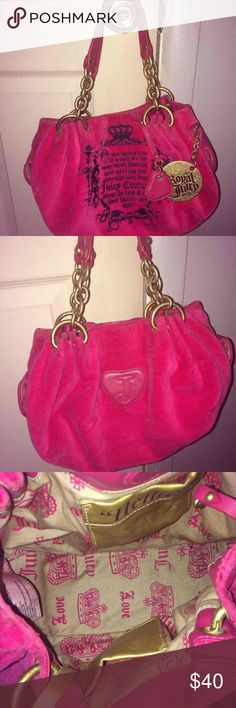 NWOT EUC juicy couture hot pink purse NWOT Juicy couture hot pink purse. Worn once! Still has the plastic cover on the mirror attached inside. No marks anywhere. Excellent condition. Juicy Couture Bags Shoulder Bags