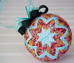 Ribbon Ornaments- quilted folded birdy