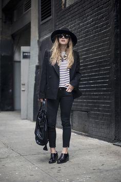 EN FRANÇAIS all black, stripes, wide-brimmed hat, luxury in the...