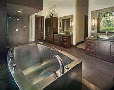 """Diammondspas.com  Colorado  Stainless Steel Contemporary Oval Bath with Mid Contoured Bottom and 2 Matching Stainless Steel Vessel Lavatories by DSI 46""""x72""""x24"""""""
