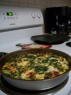 Crustless spinach quiche! : )