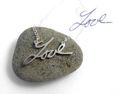 Personalized Handwriting Necklace by BrittanyLeighJewelry on Etsy