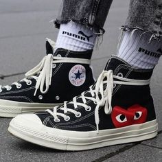 Find images and videos about fashion, grunge and converse on We Heart It - the app to get lost in what you love. Dr Shoes, Hype Shoes, Sock Shoes, Me Too Shoes, Cdg Converse, Outfits With Converse, Sneakers Fashion, Fashion Shoes, Mens Fashion