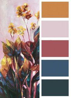 "tropical flower wall art ""Pink Paradise"" - art studio - Decor is life Apartment Color Schemes, Bedroom Color Schemes, Bedroom Colors, Bedroom Decor, Color Schemes Colour Palettes, Gold Color Scheme, Tropical Flowers, Tropical Colors, Tropical Art"