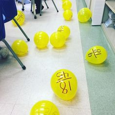 Today we're corralling chicks (balloons) based on their equivalent fractions! (students used fly swatters to move the balloons to desks that were labeled with equivalent fractions )