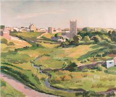 #Stephen #Bone #Village with tower and #church West Country  #Oiloncanvas #oilpainting #landscape #modernart #modern #British #Britishart #LLFA