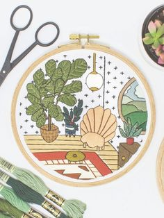 Stitch Lauren Holton's modern embroidery hoop using her tutorial inside issue 129 of Mollie Makes. #craft Diy Embroidery Patterns, Modern Embroidery, Flower Patterns, Hand Embroidery, Embroidery Hoops, Fiddle Leaf Fig, Nature Decor, Mid Century Modern Furniture, Needlework