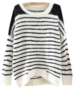 Black White Striped Long Sleeve Loose Sweater