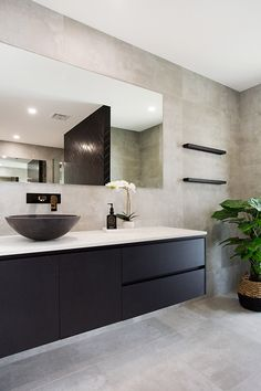 Modern Bathroom using concrete tiles Renovate your bathroom using a modern colour palette, concrete tiles and black vanity, added warmth Bathroom Design Layout, Modern Bathroom Design, Bathroom Interior Design, Bathroom Designs, Tile Design, Bathroom Ideas, Bath Design, Tile Layout, Modern Bathrooms