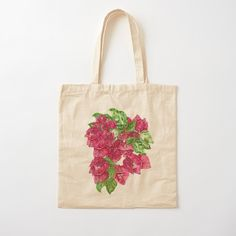 Printed Tote Bags, Cotton Tote Bags, Reusable Tote Bags, Flower Power, Painted Canvas Bags, Flower Bouquet Drawing, Pastel Watercolor, Hibiscus Flowers, Flower Designs