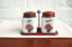 Glass Salt and Pepper Set Vintage Kitchen Red Flower Basket Metal Carrier Primitive Farm Country Table