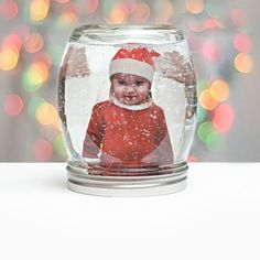 How to make a DIY photo snowglobe in a jar. The perfect personalized gift for the holidays!