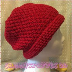 Knitting Hat/Hat Slouchy Beanie/Red knit Hat with crochet flower/Women hat/Knitted slouch hat/Adult size/Winter Accessories/READY TO SHIP by JAMMYCRAFFTS29 on Etsy