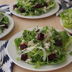 A delicious salad that is easy to prepare: Roasted Beet, Fennel, Mache and Gorgonzola Salad.