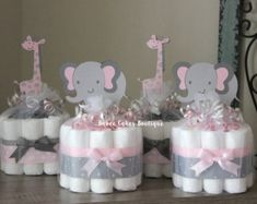 SET OF 4 Pink and Gray Owl Mini Diaper Cakes by BabeeCakesBoutique