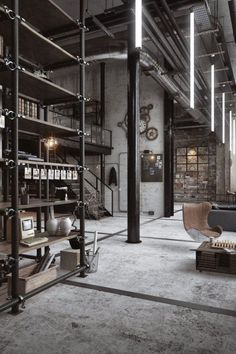 Pin by vintage industrial style on industrial lofts in 2019 Loft Estilo Industrial, Industrial Interior Design, Industrial Apartment, Vintage Industrial Furniture, Industrial Living, Industrial Interiors, Modern Industrial, Kitchen Industrial, Industrial Decorating