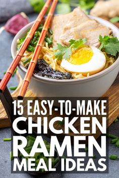 If you're looking for simple and easy hacks to help you upgrade a packet of ramen, we've curated 75 of the best instant ramen recipes for every palette! Fancy Ramen Noodle Recipe, Simple Noodle Soup Recipe, Chicken Ramen Recipe, Best Ramen Noodles, Ramen Noodle Recipes, Easy Soup Recipes, Chicken Rice, Chicken Recipes, Cooking Recipes
