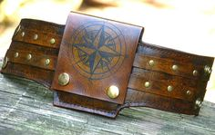 Rustic Leather Wrist Wallet Cuff Biker Wallet for Men and