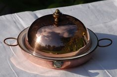 Antique Victorian Copper Lidded Warming Plate